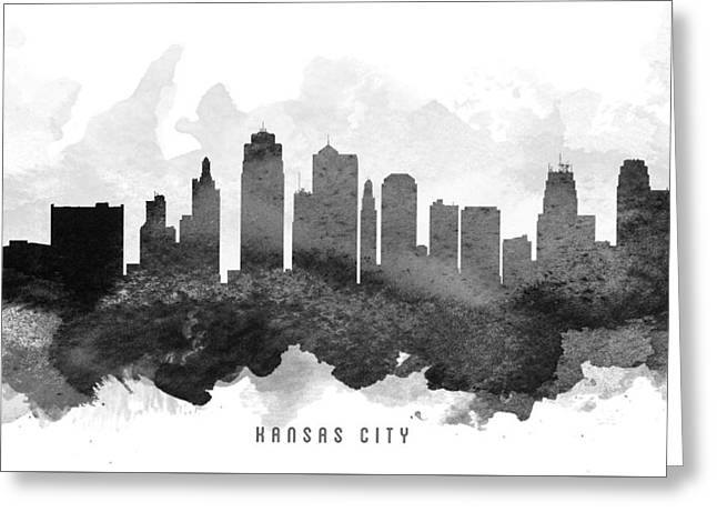 Kansas City Skyline Greeting Cards - Kansas City Cityscape 11 Greeting Card by Aged Pixel