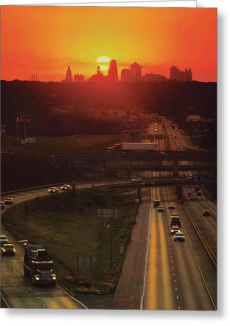 Kansas City Greeting Cards - Kansas City I 70 Sunset Greeting Card by Don Wolf
