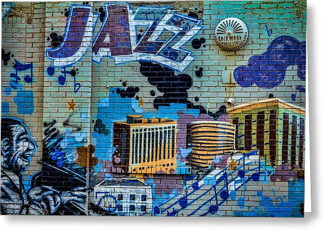 Kansas City Jazz Mural Greeting Card by Steven Bateson