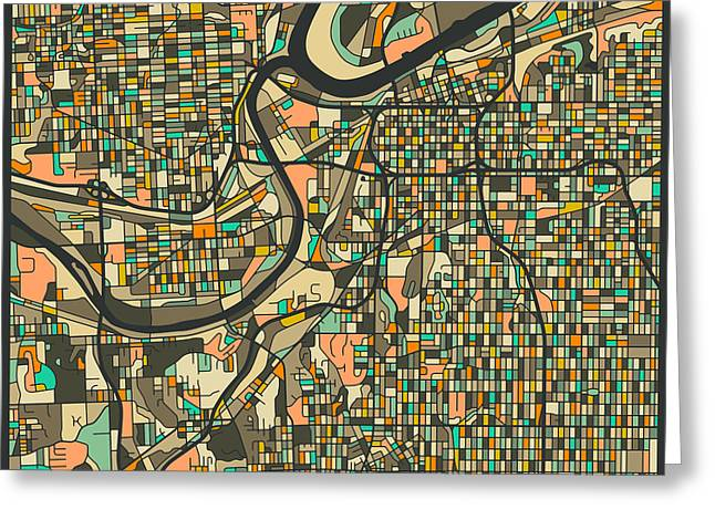 Kansas City Map 2 Greeting Card by Jazzberry Blue