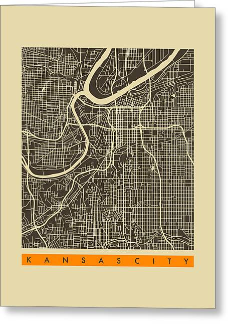 Kansas City Digital Art Greeting Cards - Kansas City Map 3 Greeting Card by Jazzberry Blue