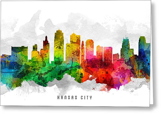Kansas City Skyline Greeting Cards - Kansas City Missouri Cityscape 12 Greeting Card by Aged Pixel