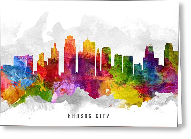 Kansas City Skyline Greeting Cards - Kansas City Missouri Cityscape 13 Greeting Card by Aged Pixel