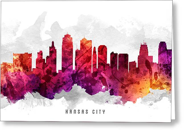Kansas City Skyline Greeting Cards - Kansas City Missouri Cityscape 14 Greeting Card by Aged Pixel