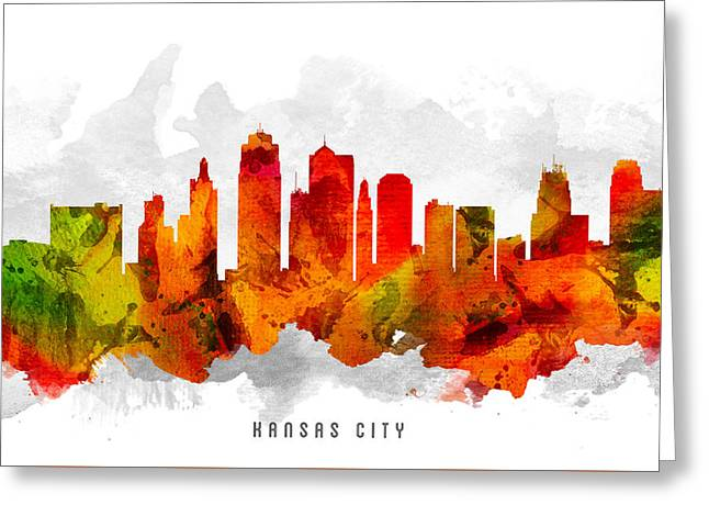 Kansas City Skyline Greeting Cards - Kansas City Missouri Cityscape 15 Greeting Card by Aged Pixel