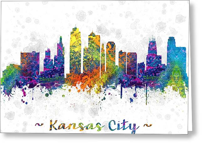 Kansas City Missouri Greeting Cards - Kansas City Missouri color 03SQ Greeting Card by Aged Pixel