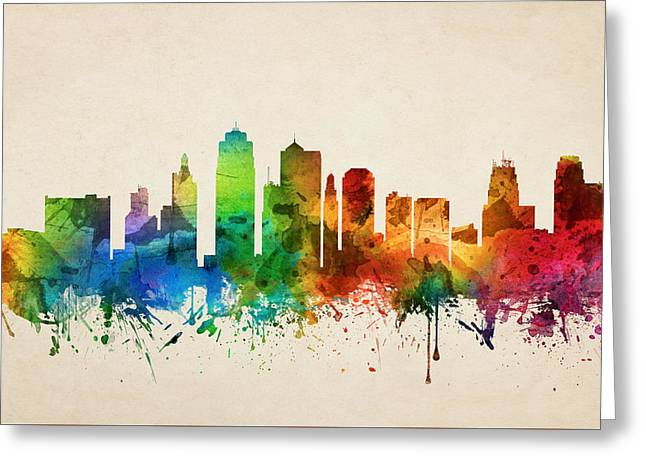 Kansas City Skyline Greeting Cards - Kansas City Missouri Skyline 05 Greeting Card by Aged Pixel