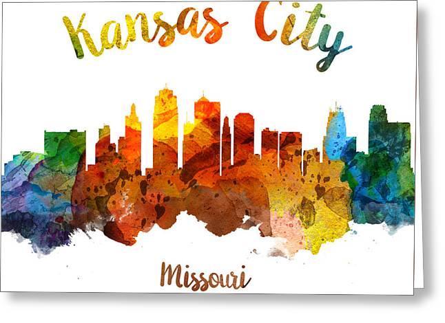 Kansas City Skyline Greeting Cards - Kansas City Missouri Skyline 26 Greeting Card by Aged Pixel