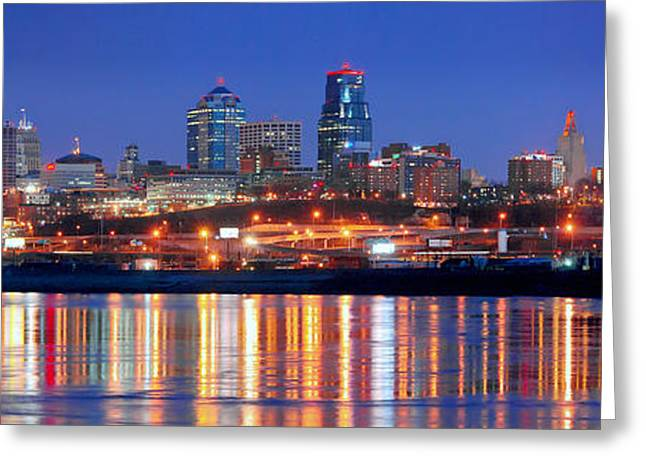 Kansas City Missouri Skyline At Night Greeting Card by Jon Holiday