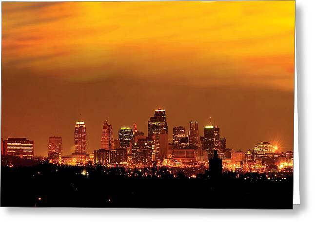 Kansas City Greeting Cards - Kansas City Missouri Skyline Greeting Card by Don Wolf