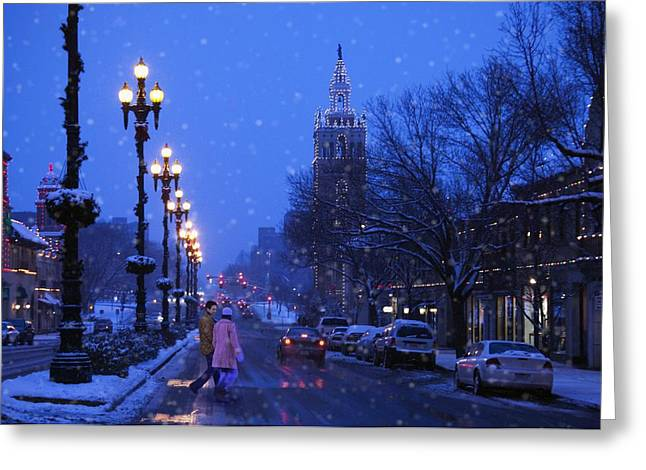 Streetlight Greeting Cards - Kansas City Plaza At Christmas Time Greeting Card by Gillham Studios