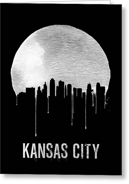 Kansas City Skyline Greeting Cards - Kansas City Skyline Black Greeting Card by Naxart Studio