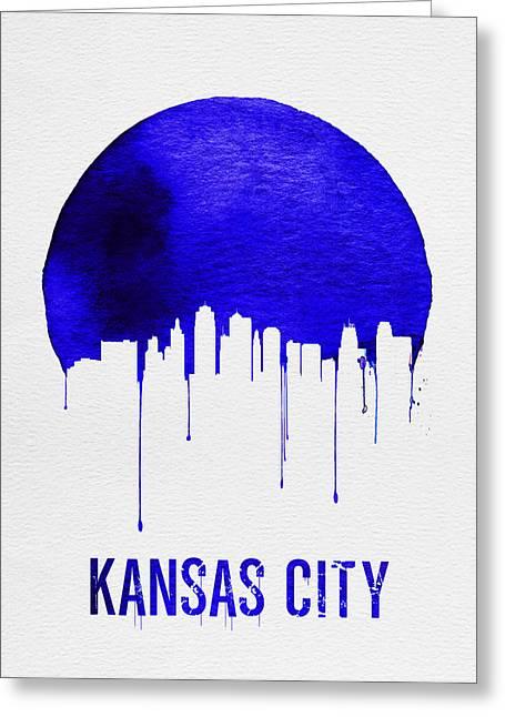 Kansas City Skyline Blue Greeting Card by Naxart Studio