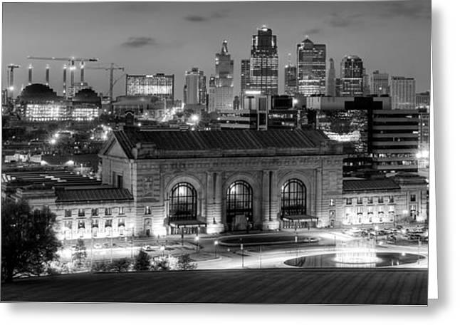 Kansas City Greeting Cards - Kansas City Skyline BW Greeting Card by Ryan Heffron
