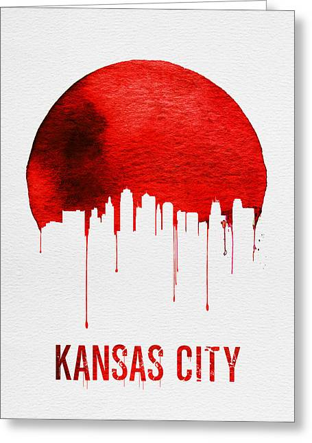Kansas City Skyline Greeting Cards - Kansas City Skyline Red Greeting Card by Naxart Studio