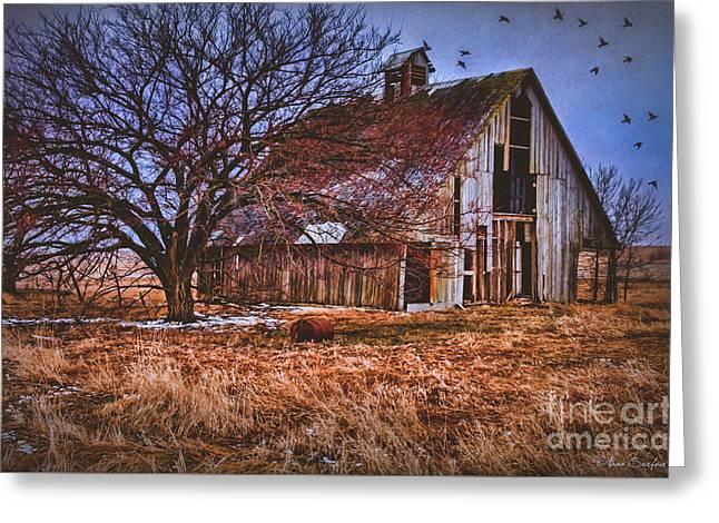 Old Barns Greeting Cards - Kansas Countryside Old Barn Greeting Card by Anna Surface