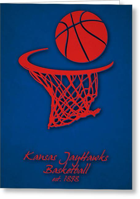 Jayhawk Greeting Cards - Kansas Jayhawks Basketball Greeting Card by Joe Hamilton