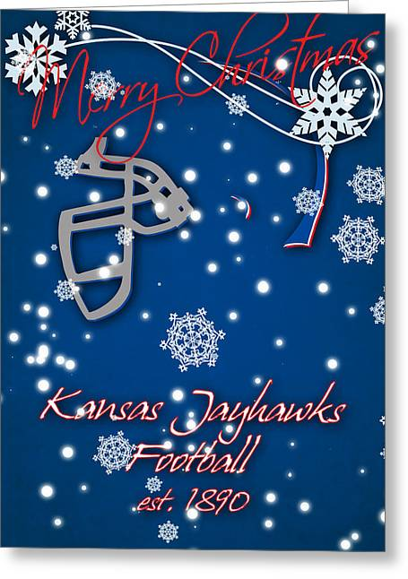 Kansas Jayhawks Christmas Card Greeting Card by Joe Hamilton
