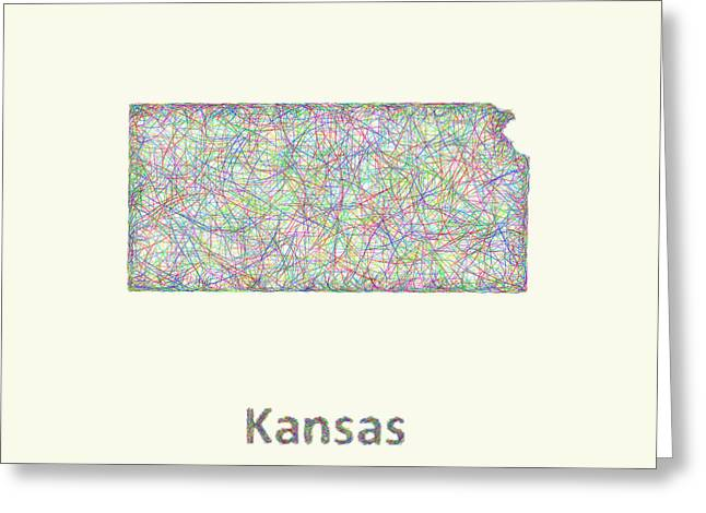 Multicolor Greeting Cards - Kansas line art map Greeting Card by David Zydd