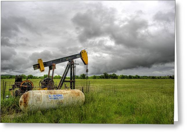 Oil Pumper Photographs Greeting Cards - Kansas Oil Greeting Card by JC Findley
