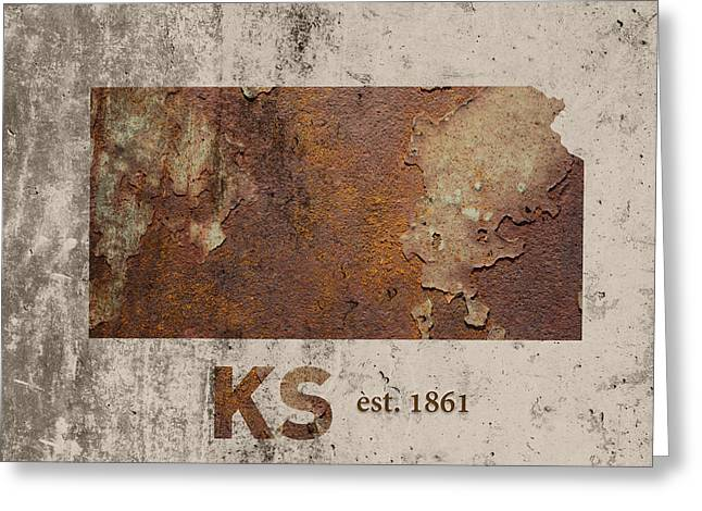 Kansas State Map Industrial Rusted Metal On Cement Wall With Founding Date Series 040 Greeting Card by Design Turnpike