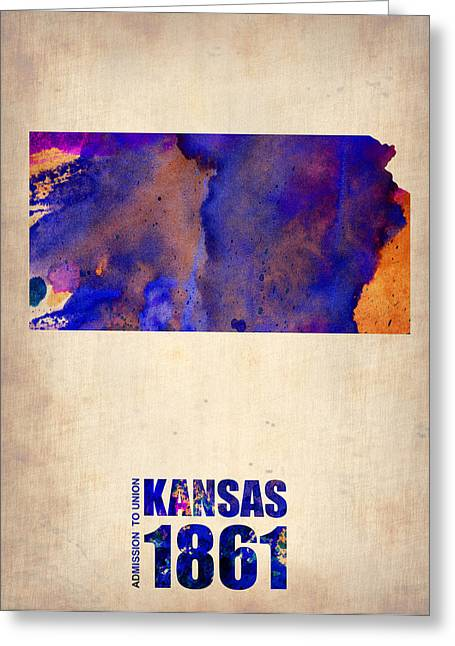 State Map Greeting Cards - Kansas Watercolor Map Greeting Card by Naxart Studio