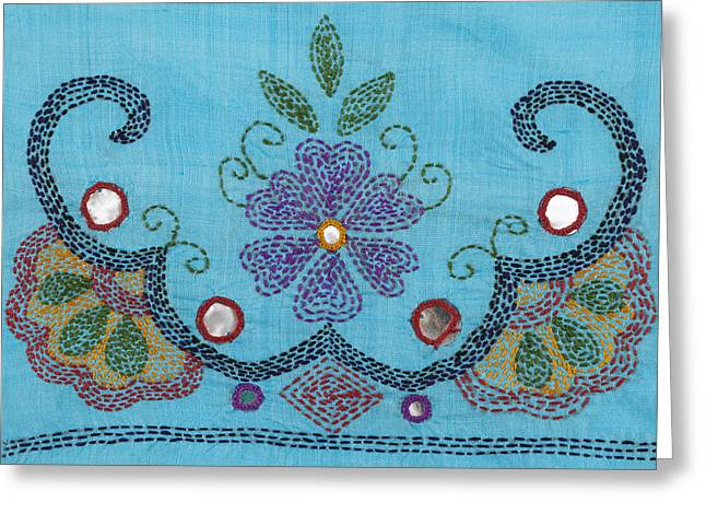 Threads Tapestries - Textiles Greeting Cards - Kantha Fabric Art on Turquoise Pure Silk Greeting Card by Anannya Chowdhury