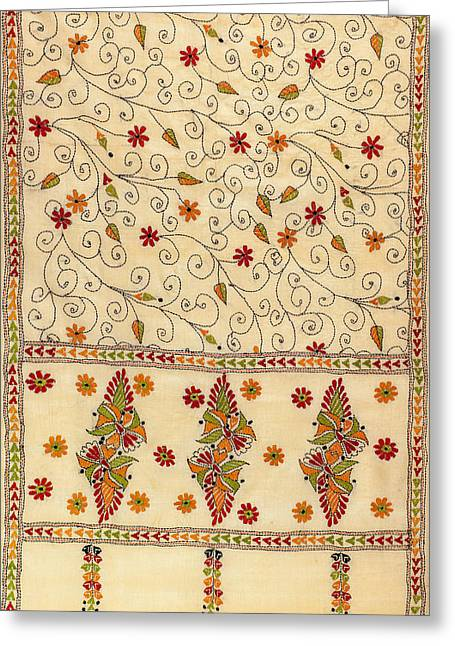 Threads Tapestries - Textiles Greeting Cards - Kantha Fabric Art Greeting Card by Anannya Chowdhury