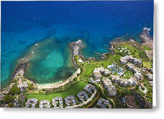 North Shore Greeting Cards - Kapalua Aerial Greeting Card by Ron Dahlquist - Printscapes