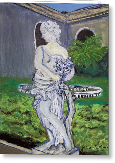 Event Pastels Greeting Cards - Kapok Gardens Statue Greeting Card by Patricia Beebe