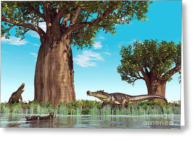 Baobab Greeting Cards - Kaprosuchus Crocodyliforms Greeting Card by Walter Myers