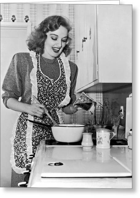 Karin Booth Cooking Greeting Card by Underwood Archives