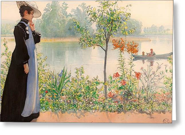 Recently Sold -  - Boats On Water Greeting Cards - Karin By The Shore Greeting Card by Carl Larsson