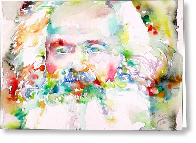 Marx Greeting Cards - KARL MARX - watercolor portrait Greeting Card by Fabrizio Cassetta