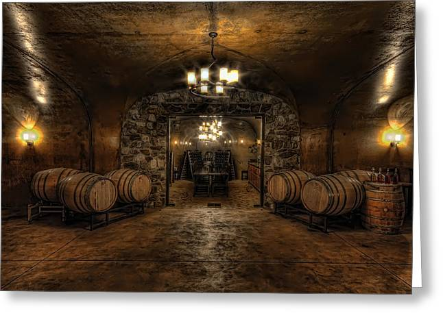 Winery Photography Greeting Cards - Karma Winery Cave Greeting Card by Brad Granger