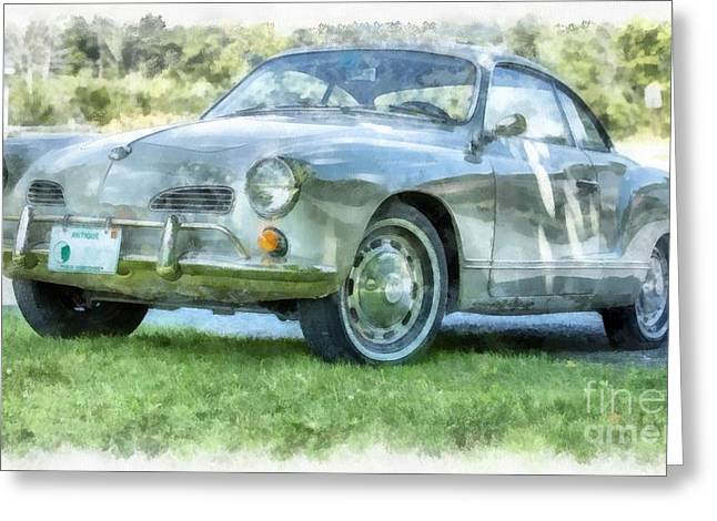 Wv Greeting Cards - Karmann Ghaia Vintage Car Watercolor Greeting Card by Edward Fielding