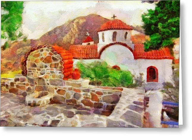 Garden Dor Greeting Cards - Karpathos island 2 Greeting Card by George Rossidis