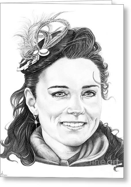 Kate Middleton Greeting Cards - Kate Middleton Greeting Card by Murphy Elliott