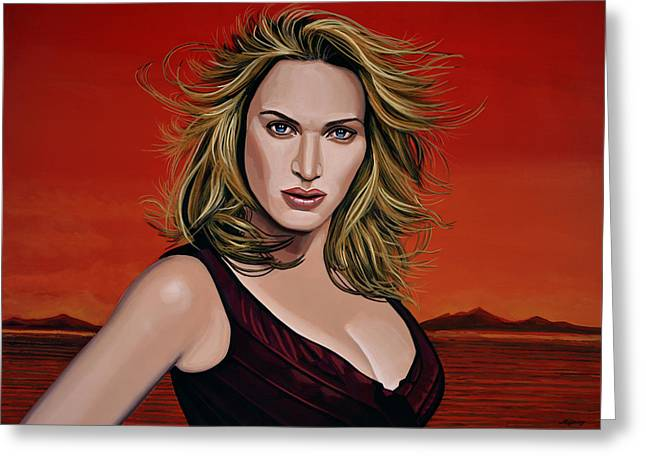 British Celebrities Greeting Cards - Kate Winslet Greeting Card by Paul Meijering