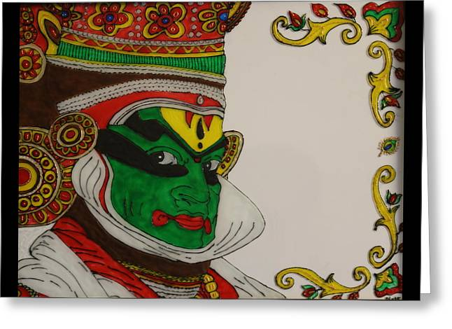 Homes Glass Greeting Cards - Kathakali Dancer Face Painting Greeting Card by Gold Peacock