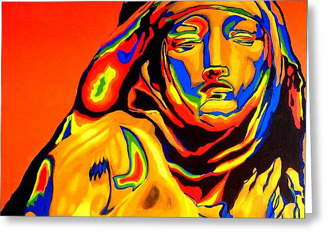 Statue Portrait Paintings Greeting Cards - Katharine - St.Katharine Statue Greeting Card by Khairzul MG