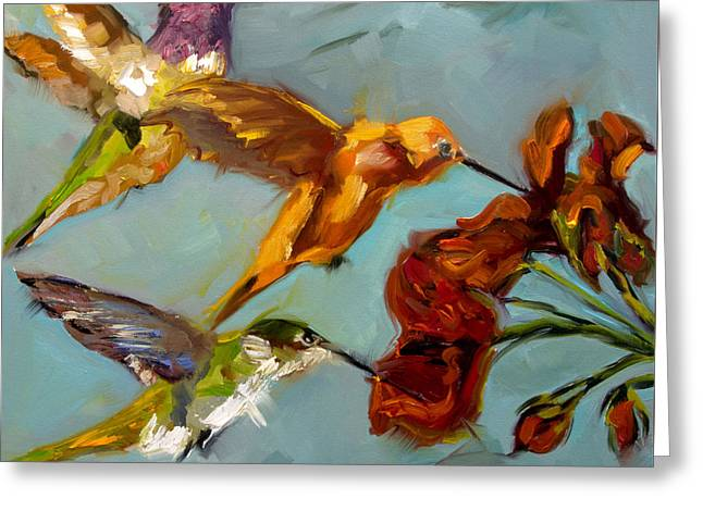 Kathy's Humming Birds Greeting Card by Diane Whitehead