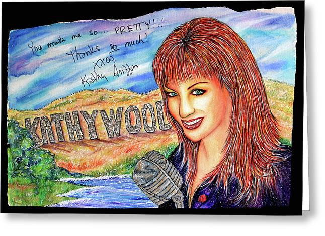 Autographed Mixed Media Greeting Cards - KathyWood Greeting Card by Joseph Lawrence Vasile