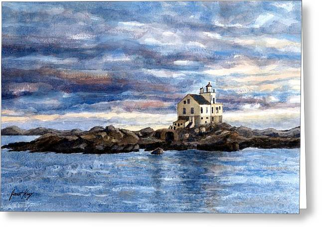 Norwegian Sunset Greeting Cards - Katland lighthouse Greeting Card by Janet King