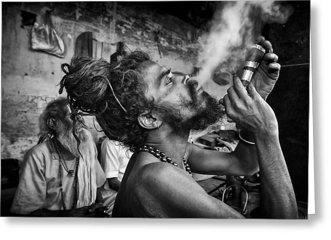 Begging Bowl Greeting Cards - Katmandu Smoking 3 Greeting Card by David Longstreath