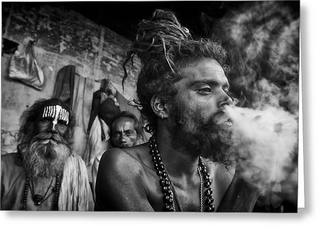 Begging Bowl Greeting Cards - Katmandu Smoking Greeting Card by David Longstreath