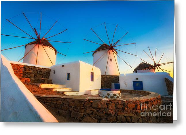 Aegean Sea Greeting Cards - Kato Mili Greeting Card by Inge Johnsson