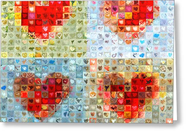 Grid Of Heart Photos Digital Greeting Cards - Katrinas Heart Wall - Custom Design Created for Extreme Makeover Home Edition on ABC Greeting Card by Boy Sees Hearts