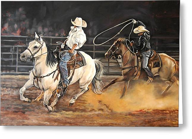 Levis Greeting Cards - Kats Cowboys Greeting Card by Leisa Temple