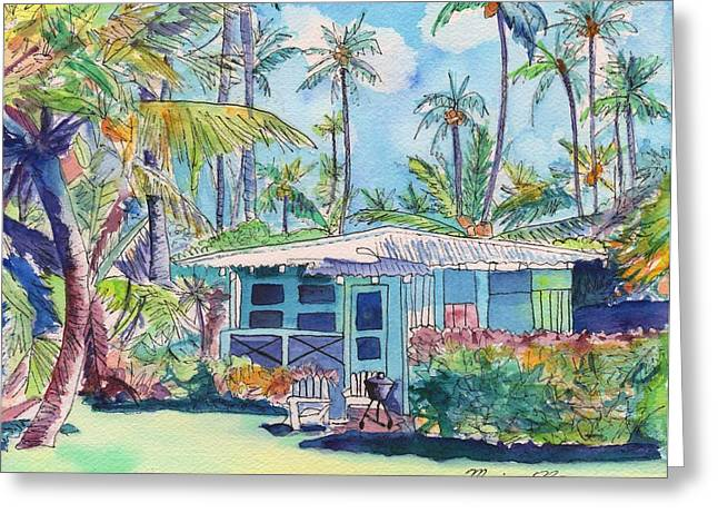 Plantation Greeting Cards - Kauai Blue Cottage 2 Greeting Card by Marionette Taboniar